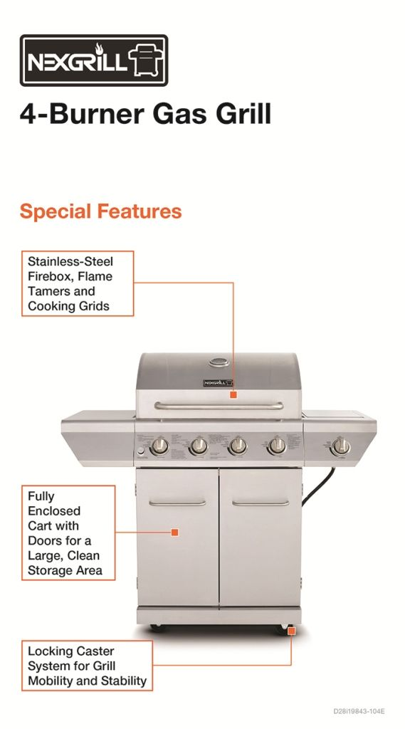 Nexgrill 4 Burner Stainless Steel Propane Gas Grill with