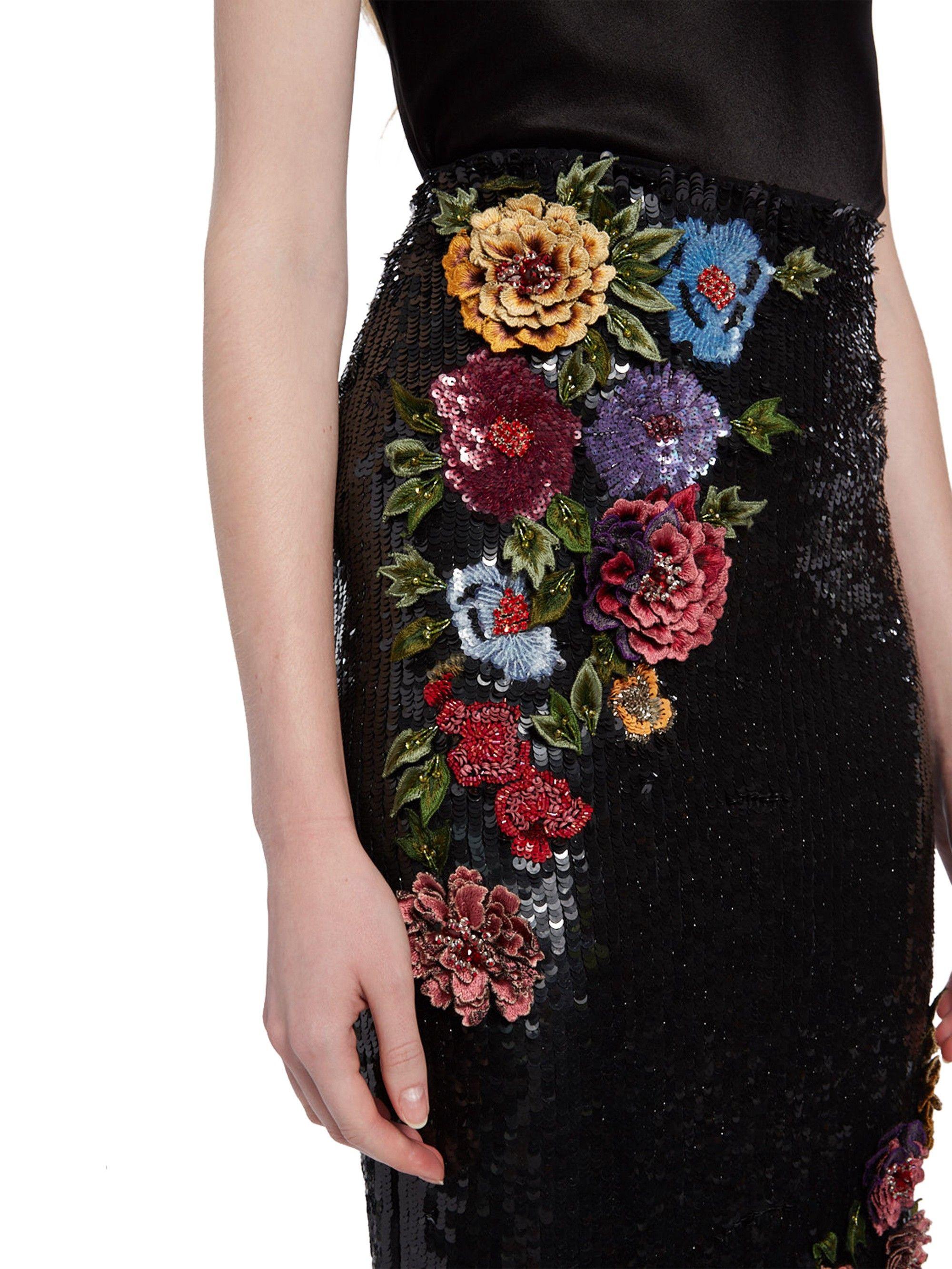 5c17c47726d8 Alice + Olivia Ella Embellished Midi Skirt - Black Multi 0   Products