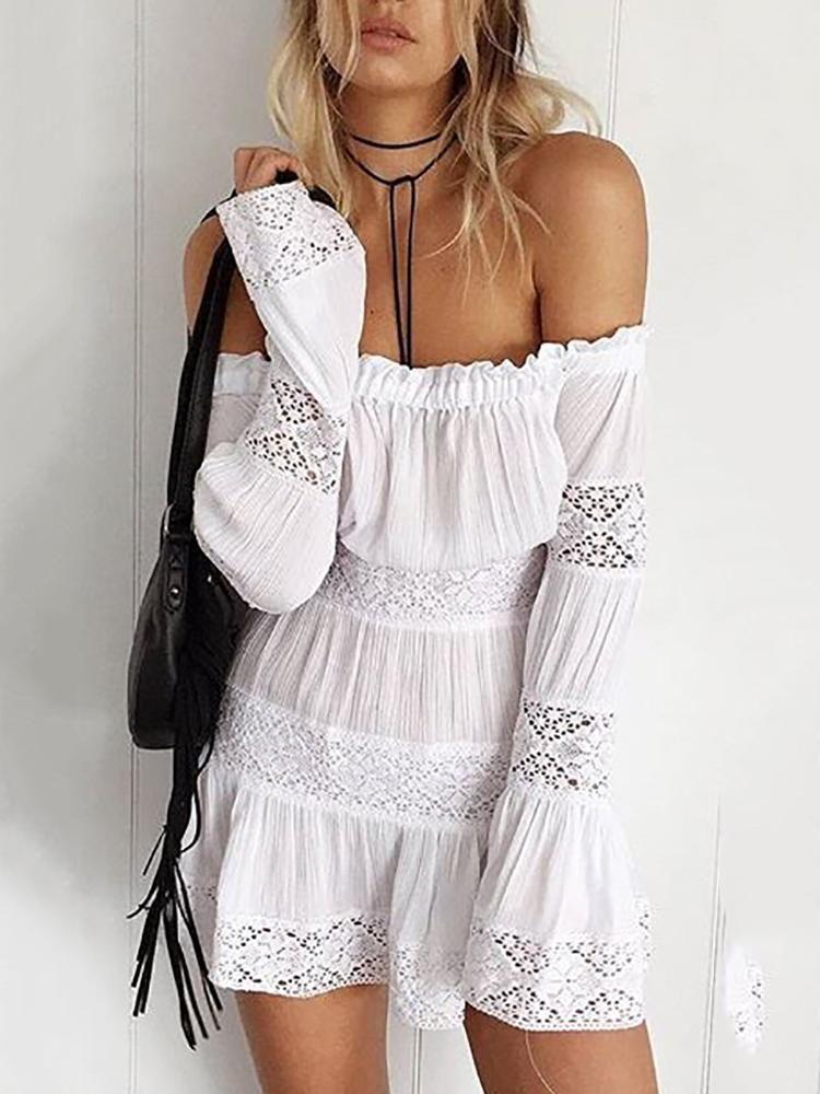 7c122dd57750 Shirring Off Shoulder Flared Lace Mini Dress