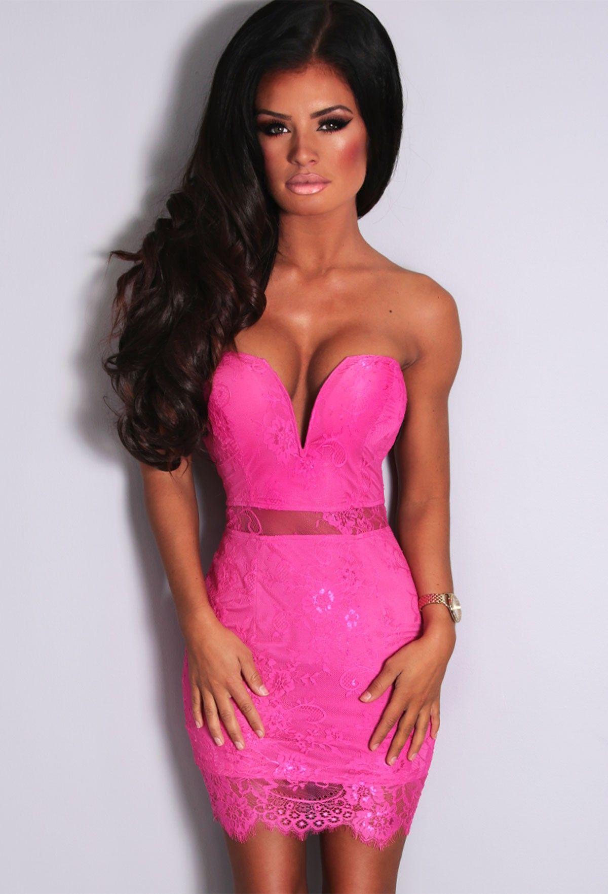 83ad2891b7ae6 Cici Hot Pink Lace Mini Dress - 6 | Fashion | Pink mini dresses ...