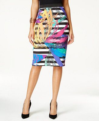 c9dca1ff2 Grace Elements Mixed-Print Scuba Pencil Skirt - Women - Macy's ...