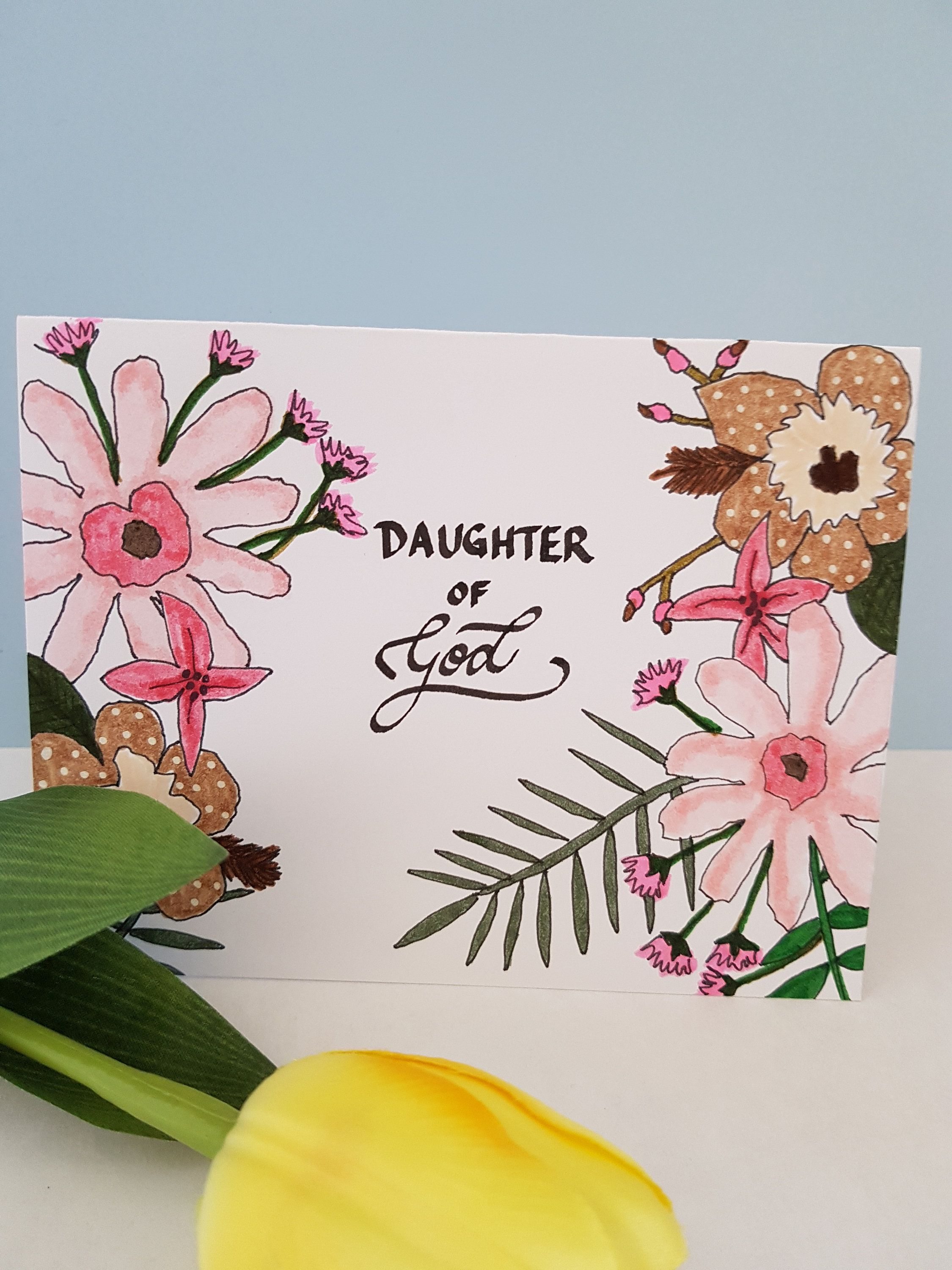 Christian Baptism Card For Daughter