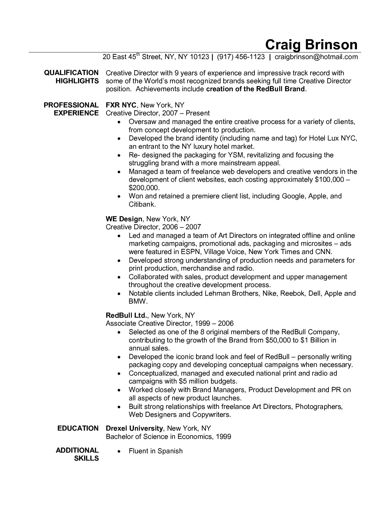 Brand Manager Resume Art Director Resume Examples  Let Me See You Work It Work It