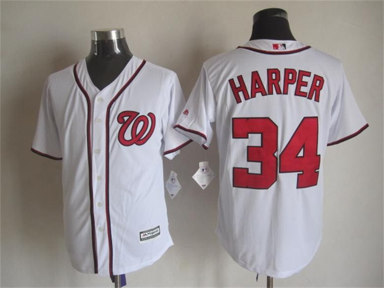 washington nationals 34 bryce harper home white 2015 mlb cool base jersey