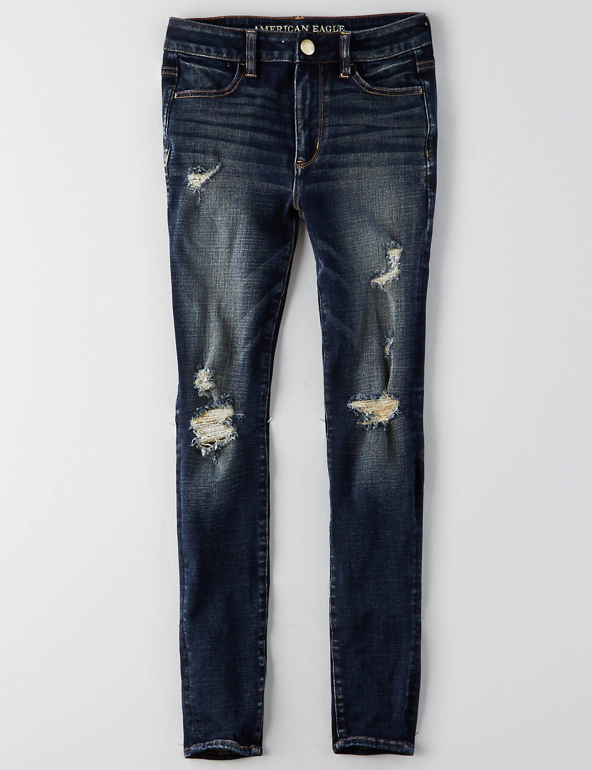 93691453795 AEO Denim X4 Hi-Rise Jegging, Indigo Rust Destroy | American Eagle  Outfitters