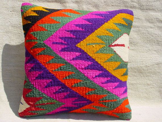 "Turkish Vintage Handwoven Kilim Rug Pillow ,Carpet Pillow ,Anatolia Vintage Kilim Rug Pillow Cushion cover 16"" x 16"""