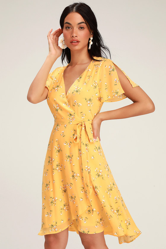 Rise To The Occasion Yellow Floral Print Midi Wrap Dress Women Dress Online Dresses Womens Dresses