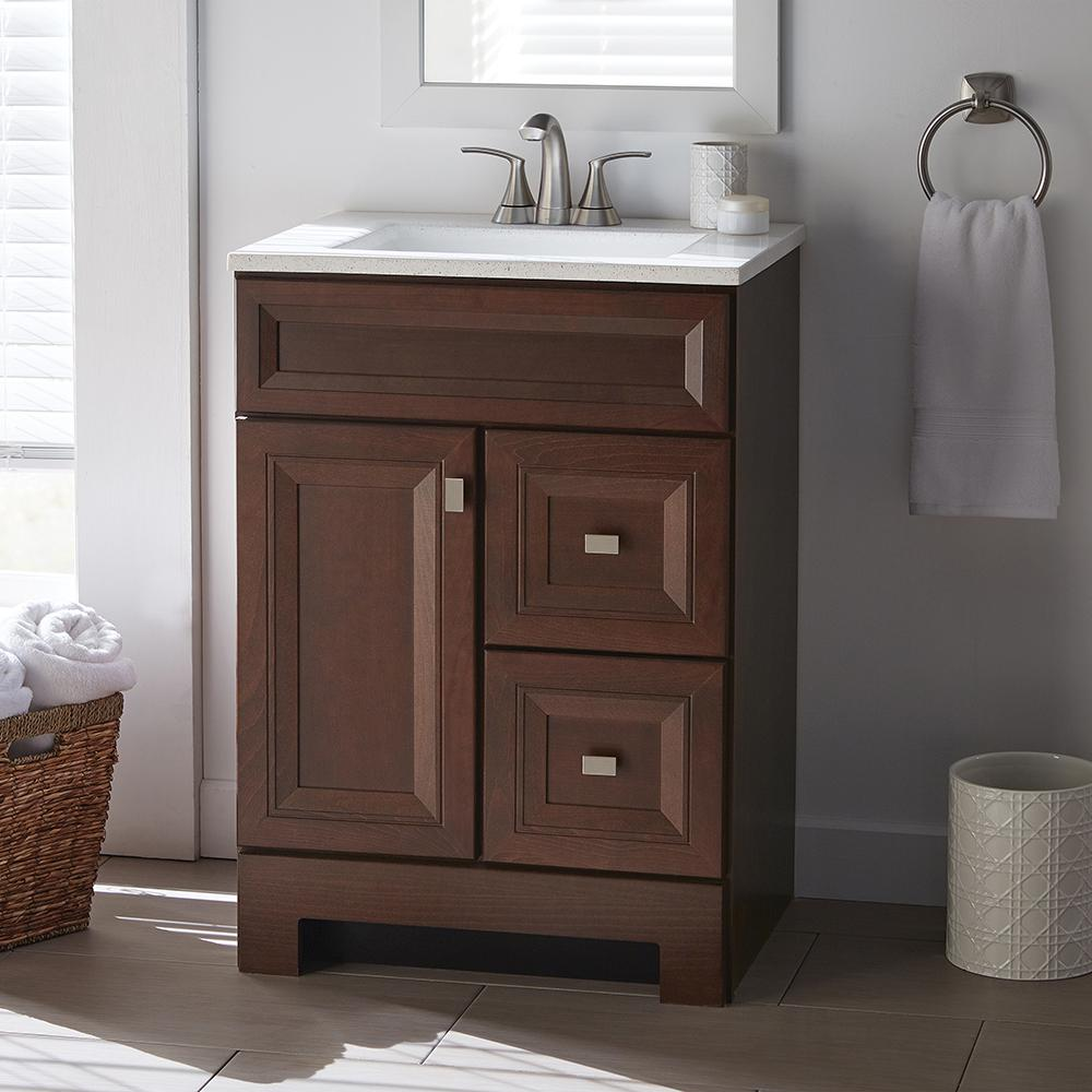 Home Decorators Collection Sedgewood 24 1 2 In W Bath Vanity In Dark Cognac With Solid Surface Technology Vanity Top In Arctic White Sink Vanity Bath Vanities