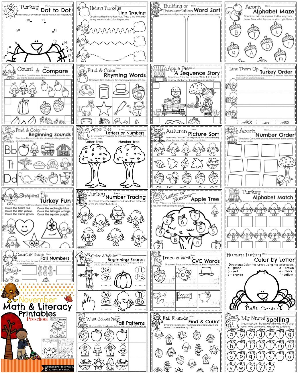 November Preschool Worksheets