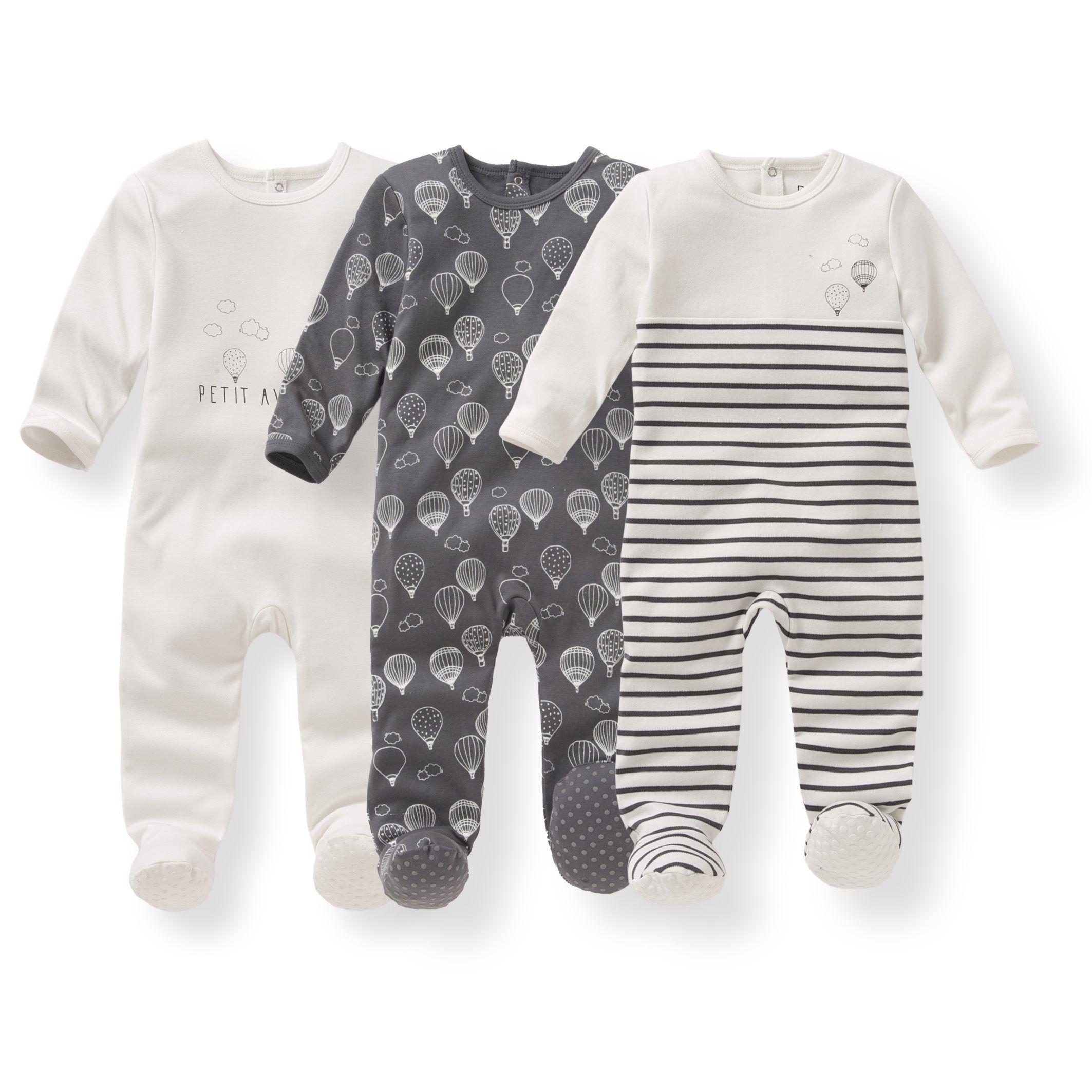 60c80b738cb145 Pyjama coton imprimé 0 mois-3 ans (lot de 3) R Édition gris anthracite +  rayé + imprimé | La Redoute