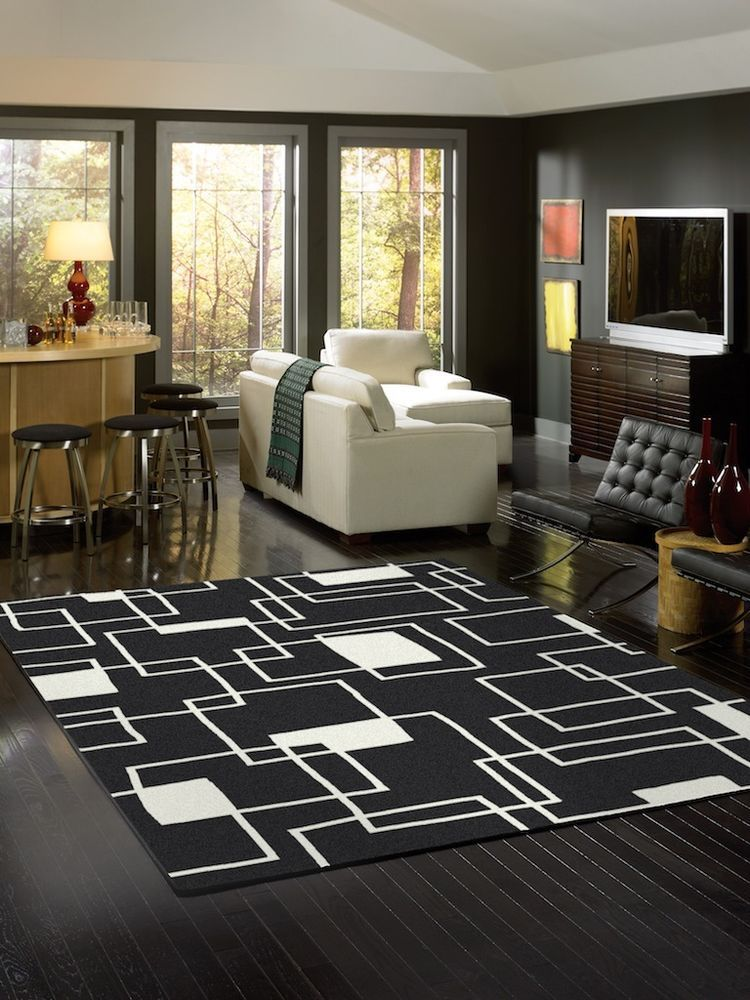 contemporary geometric black and white area rug cheap various sizes