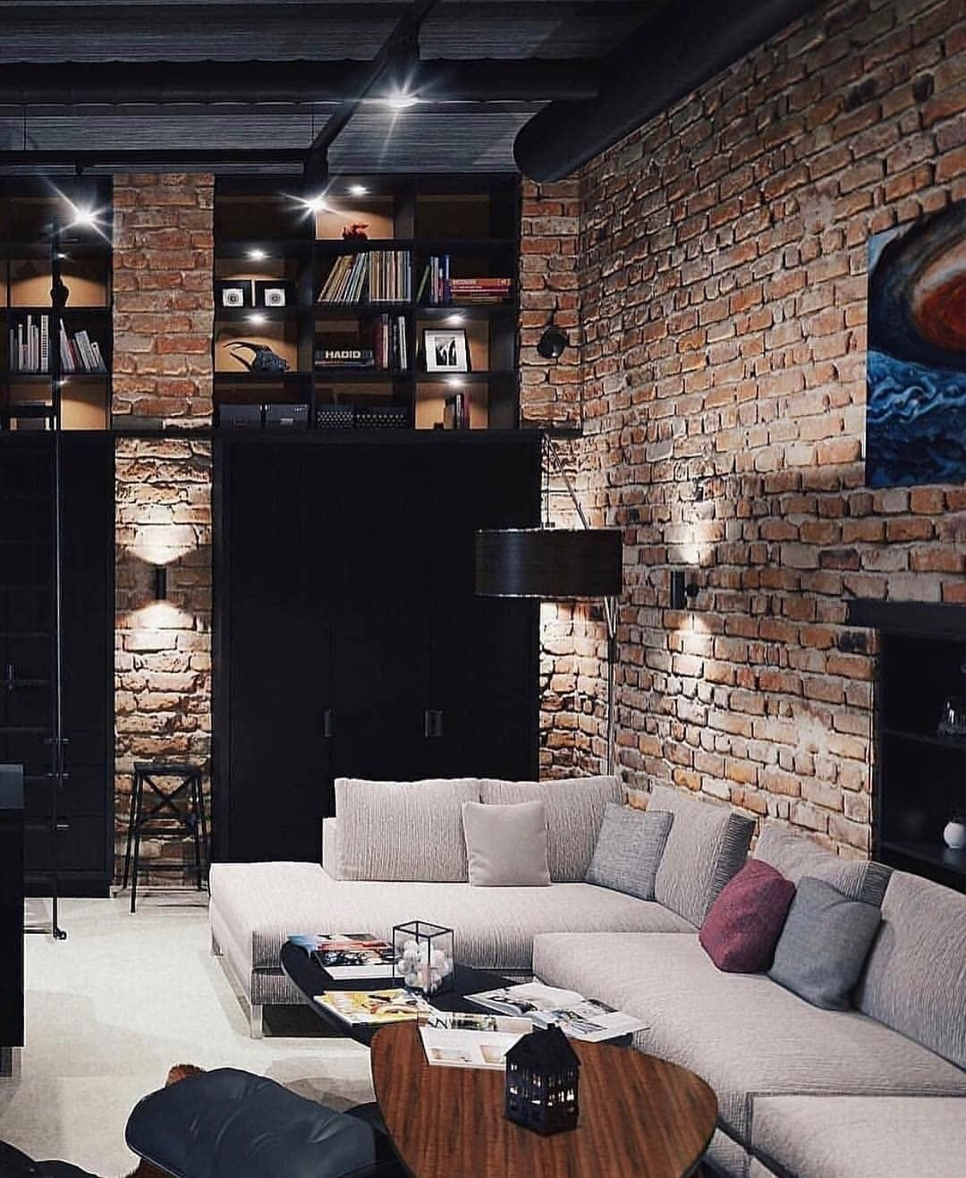 Tag Your Friends Who D Love This Design Brick Walls High Ceilings Cool Lighting Every Detail Is Beautiful Here Credits To Designer Dm Inform