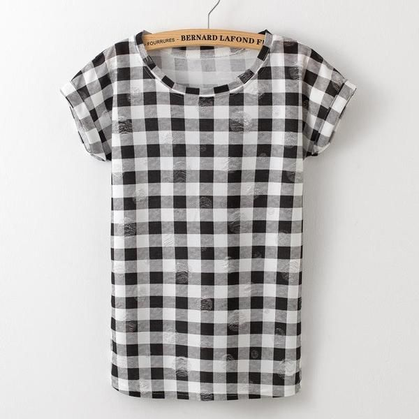 b2ccfcc9 Summer Women Lattice printing T-shirts O- neck Strapless Shirts Off Shoulder  Short-sleeved T-shirt Loose Type