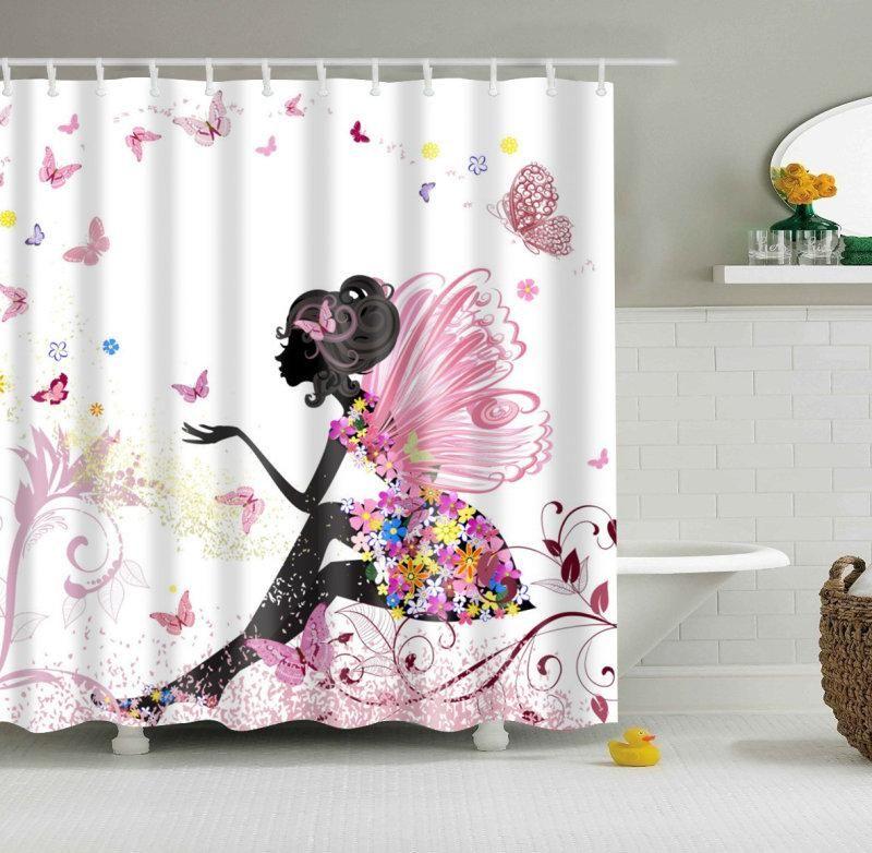 ffd678d02b46 Beautimus Girly Fairy Butterfly Shower Curtain