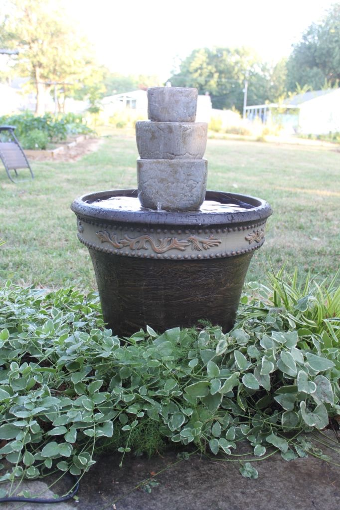 outdoor water fountain made of planters - HOME SWEET HOME