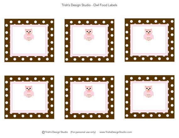 Owl Party Food Labels INSTANT DOWNLOAD by ...
