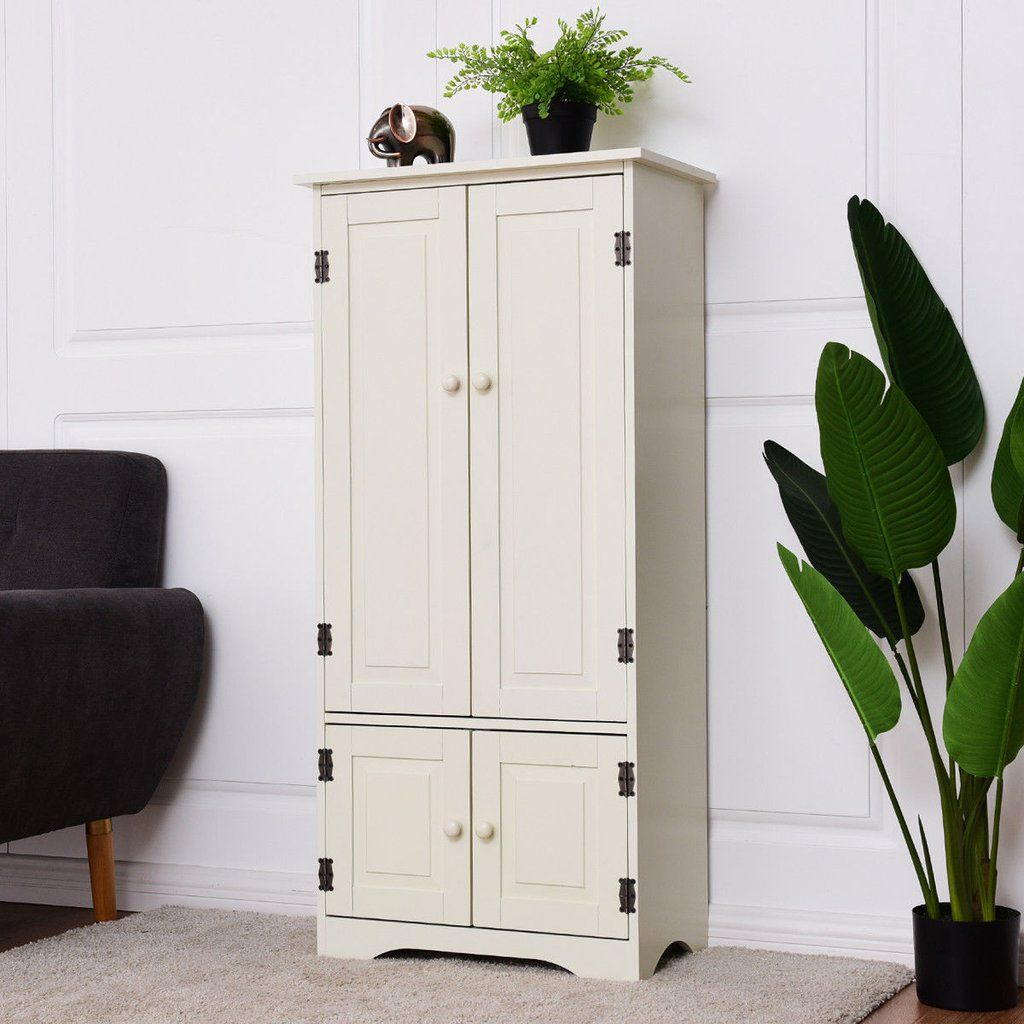 Costway Accent Storage Cabinet Adjustable Shelves Antique 2 Door Floor Cabinet White Accent Storage Cabinet Adjustable Shelving Modern Pantry Cabinets