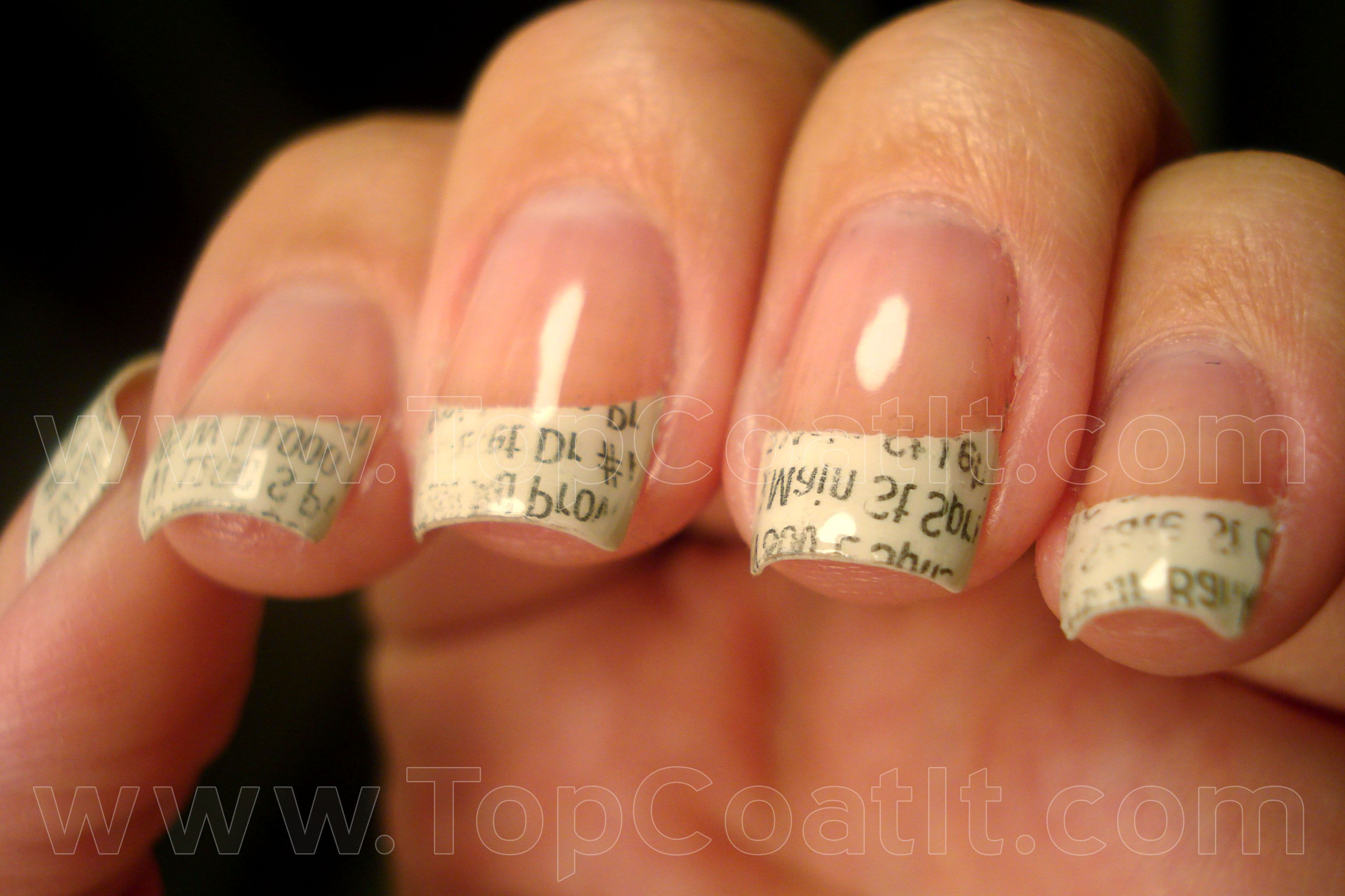 Newsprint nails. Paint your nails, allow to dry, dip in rubbing ...