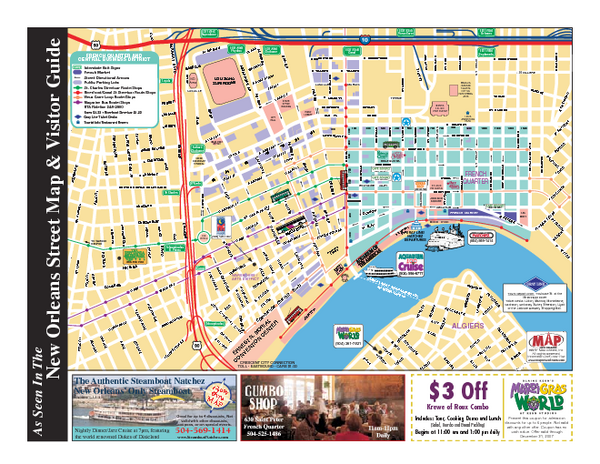 New Orleans French Quarter Tourist Map french quarter map with attractions | 29.9579091166877