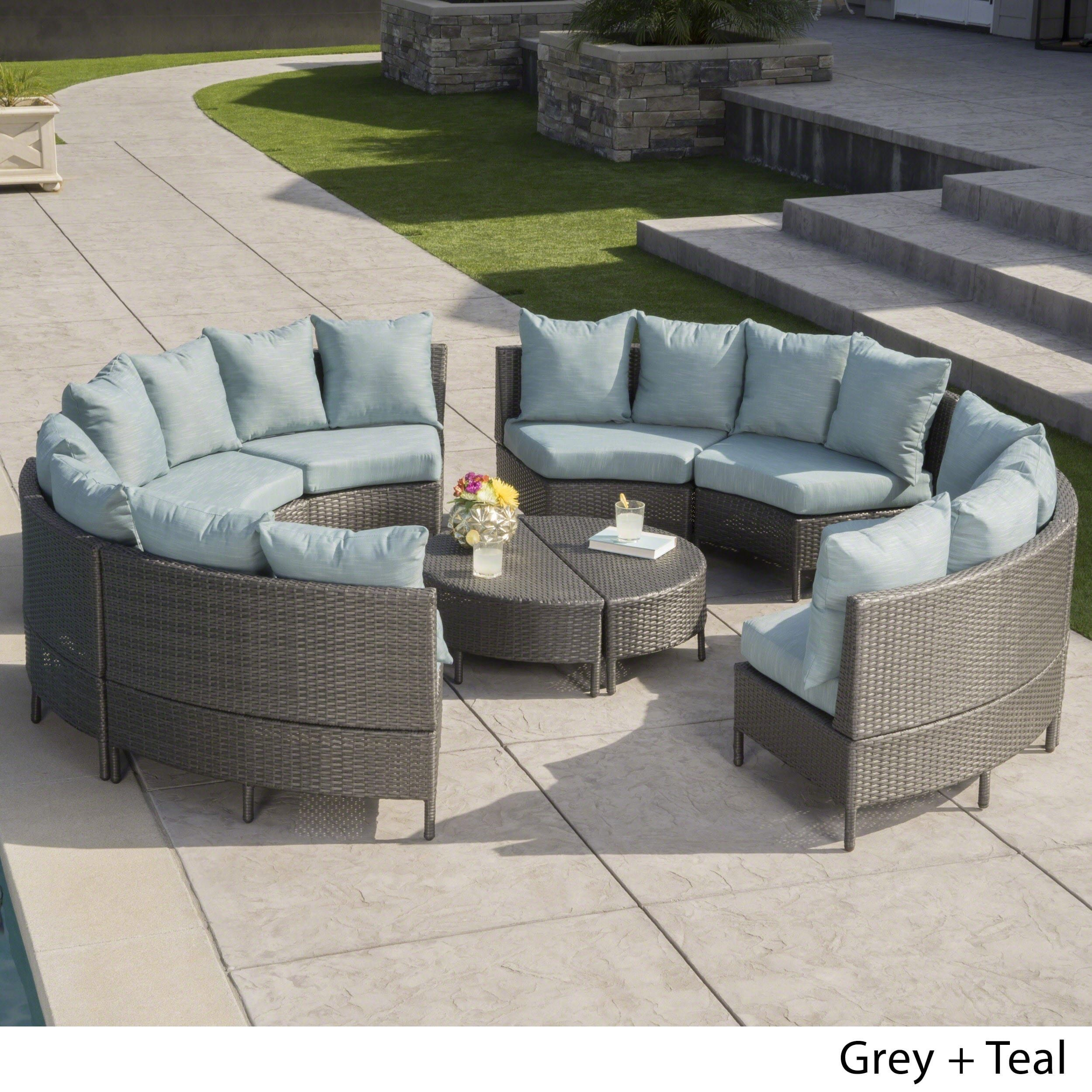 Newton Outdoor 10 piece Wicker Lounge Set by Christopher Knight