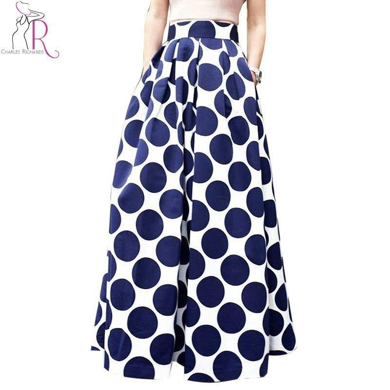 fa3f94d45f0 Spring Autumn Navy Blue High Waist Polka Dots Print Pleated Maxi Skirt Fall  Contrast Casual A