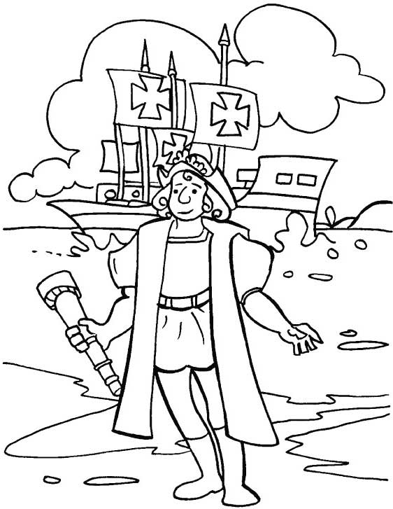 Columbus In Front Of Pinta On Columbus Day Coloring Page Kids Play Color Coloring Pages Coloring Pages For Kids Boat Coloring