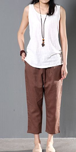 street price hot sales quality Brown linen trousers crop pants women summer | linen pants ...