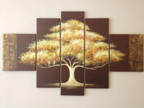 Santin Art-Golden Tree-Modern Canvas Art Wall Decor Landscape Oil ...