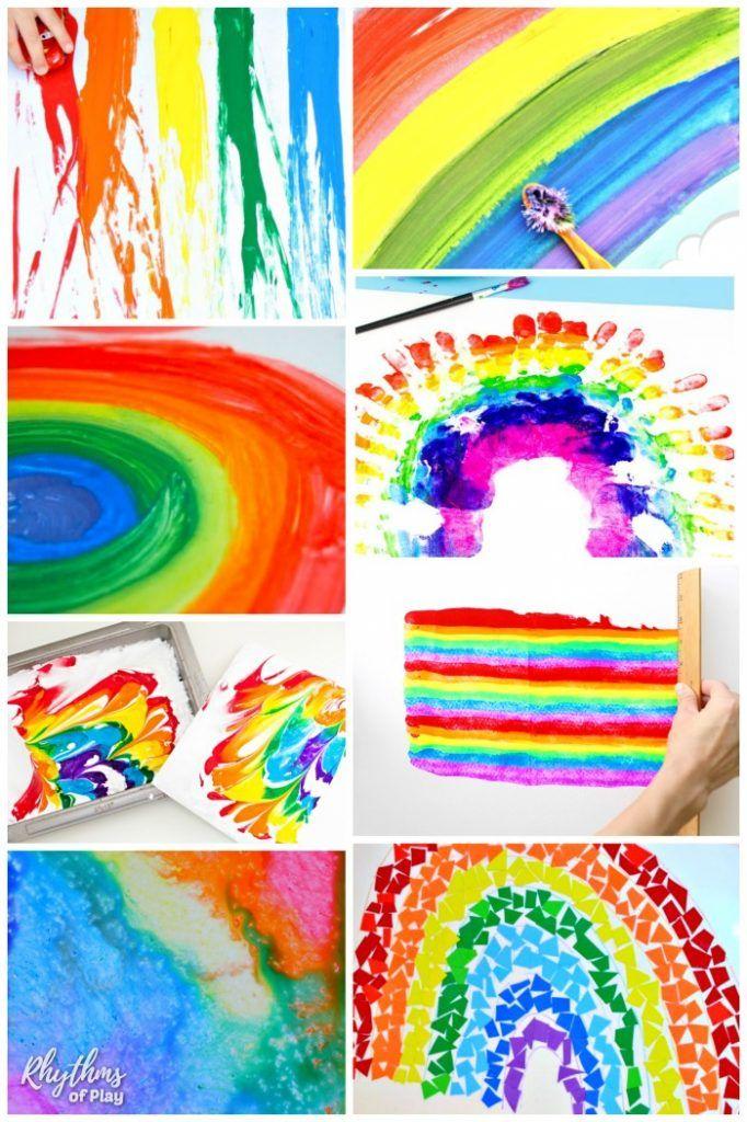 Pin On Making Sowing Crochet Rainbow art activities for preschoolers