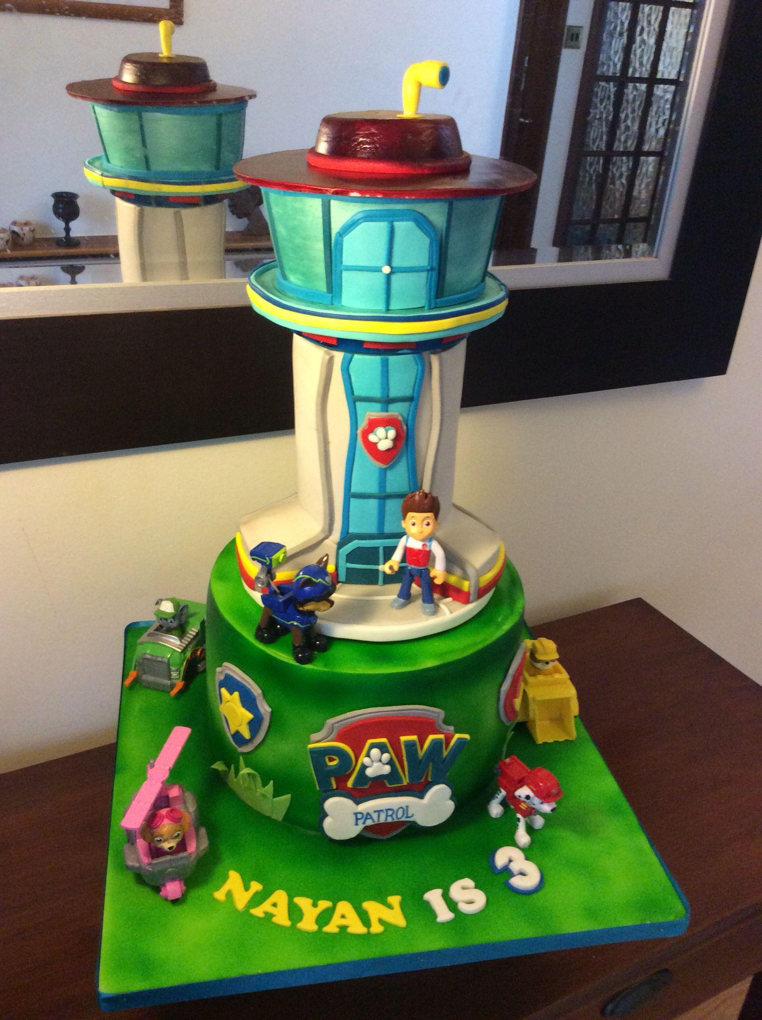 Superb Paw Patrol Lookout Tower Cake Paw Patrol Cake Paw Patrol Cake Personalised Birthday Cards Beptaeletsinfo
