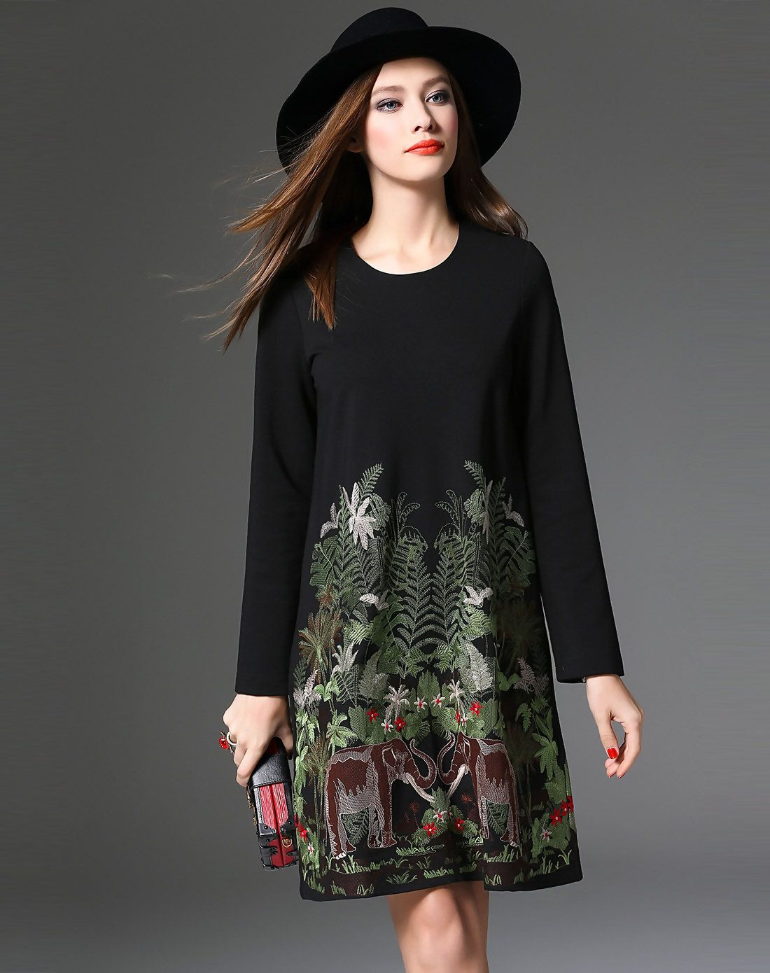 1f6814402e6e  AdoreWe  VIPme (VIPSHOP Global) Womens - YuJia Black Long Sleeve Plaint  Embroidery A Line Short Dress - AdoreWe.com