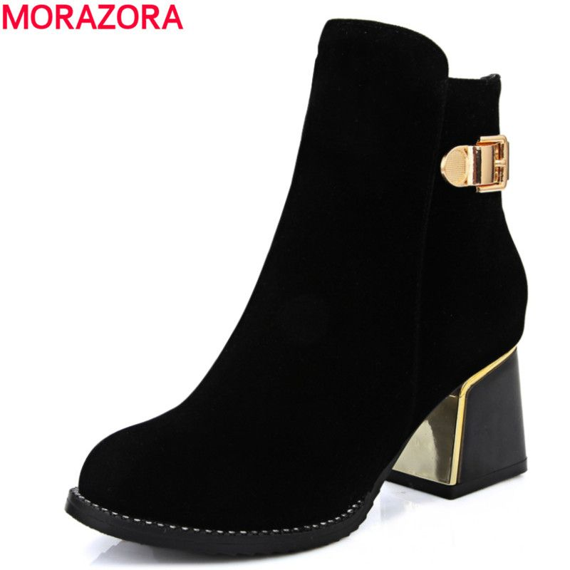 Women's High-Heels Solid Round Closed Toe Frosted Zipper Boots with Metal
