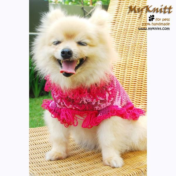 Bohemian Pink Dog Clothes Gypsy Style Diamond Crochet Pattern DK838