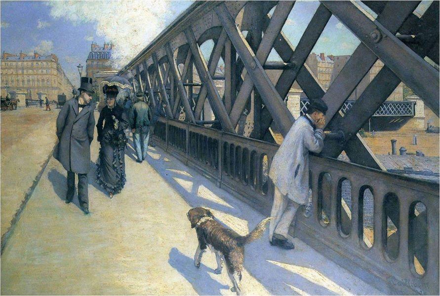 """Une des versions du """"pont de l'Europe"""", au-dessus des rails près de la gare Saint-Lazare, peint par Gustave Caillebotte en 1877."""