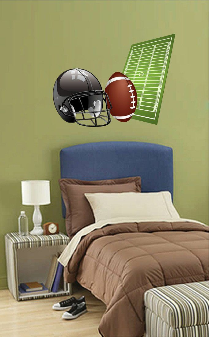 cik706 full color wall decal helmet rugby ball sport team game