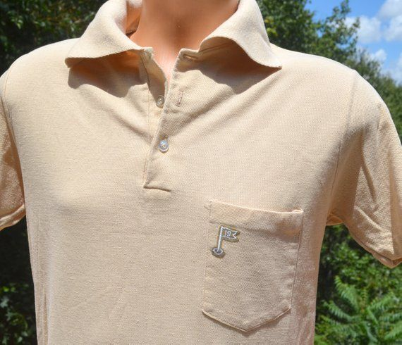89b5f8e9 60s vintage shirt golf polo POCKET embroidered tennis jc penney 19th hole Medium  Large preppy 70s