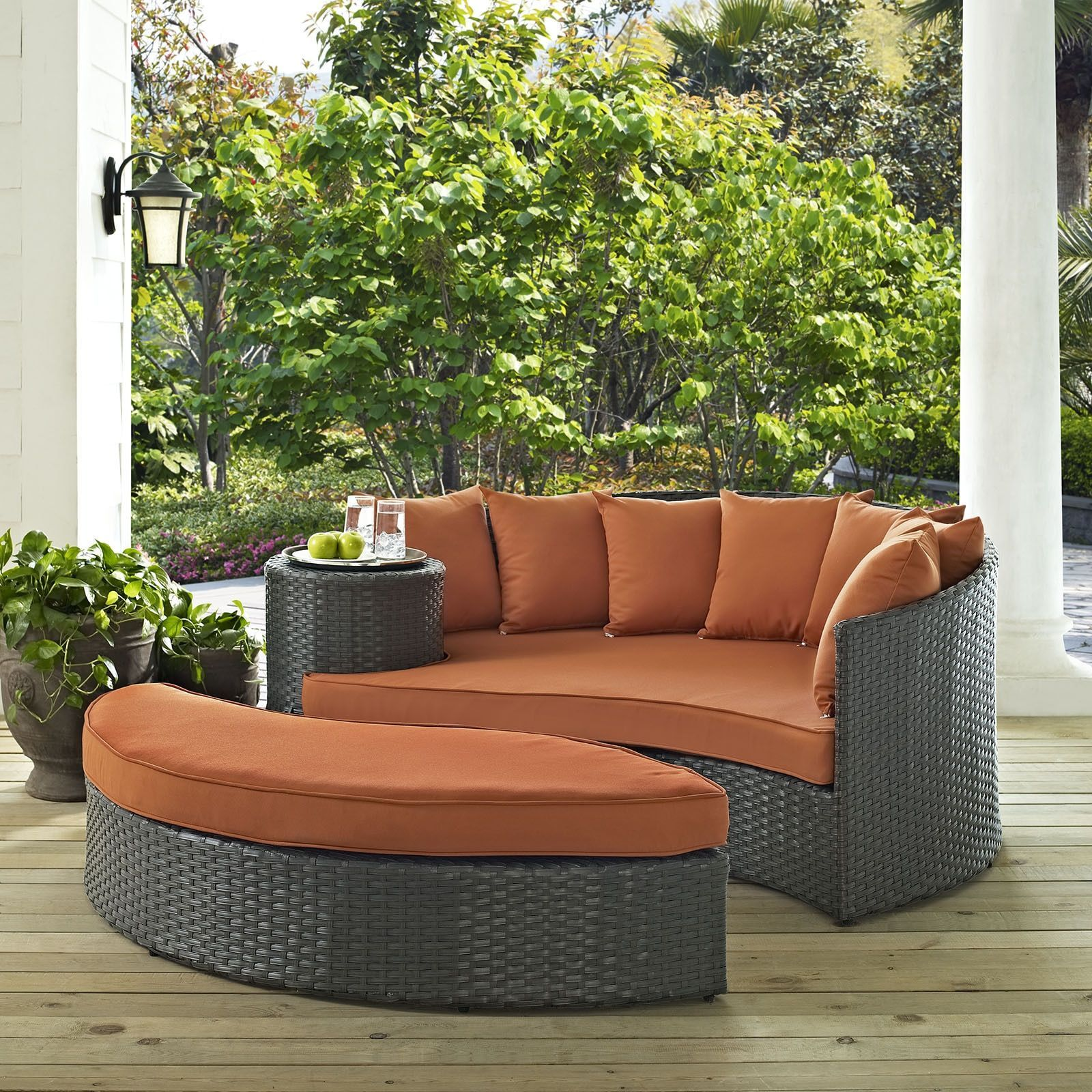 Modway Stopover Outdoor Patio Daybed Beige Size 2 Piece Sets