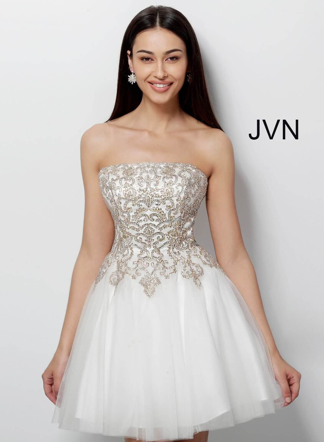 Jovani Jvn63635 Embroidered Short Fit And Flare Homecoming Dress Cocktail Dress Strapless Dresses Short Strapless Cocktail Dresses Jovani Dresses [ 1500 x 1100 Pixel ]