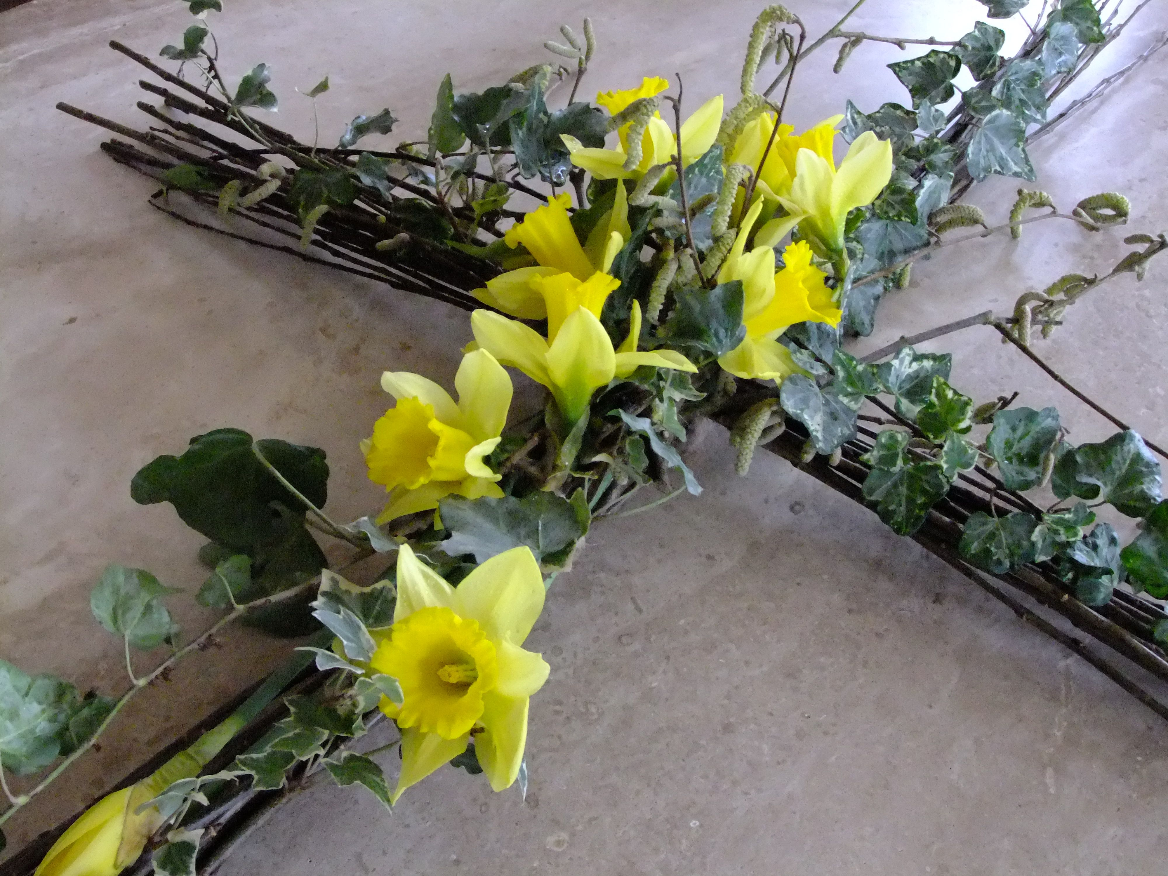 A Spring Willow Funeral Cross Of Daffodils Catkins And Ivy Suitable