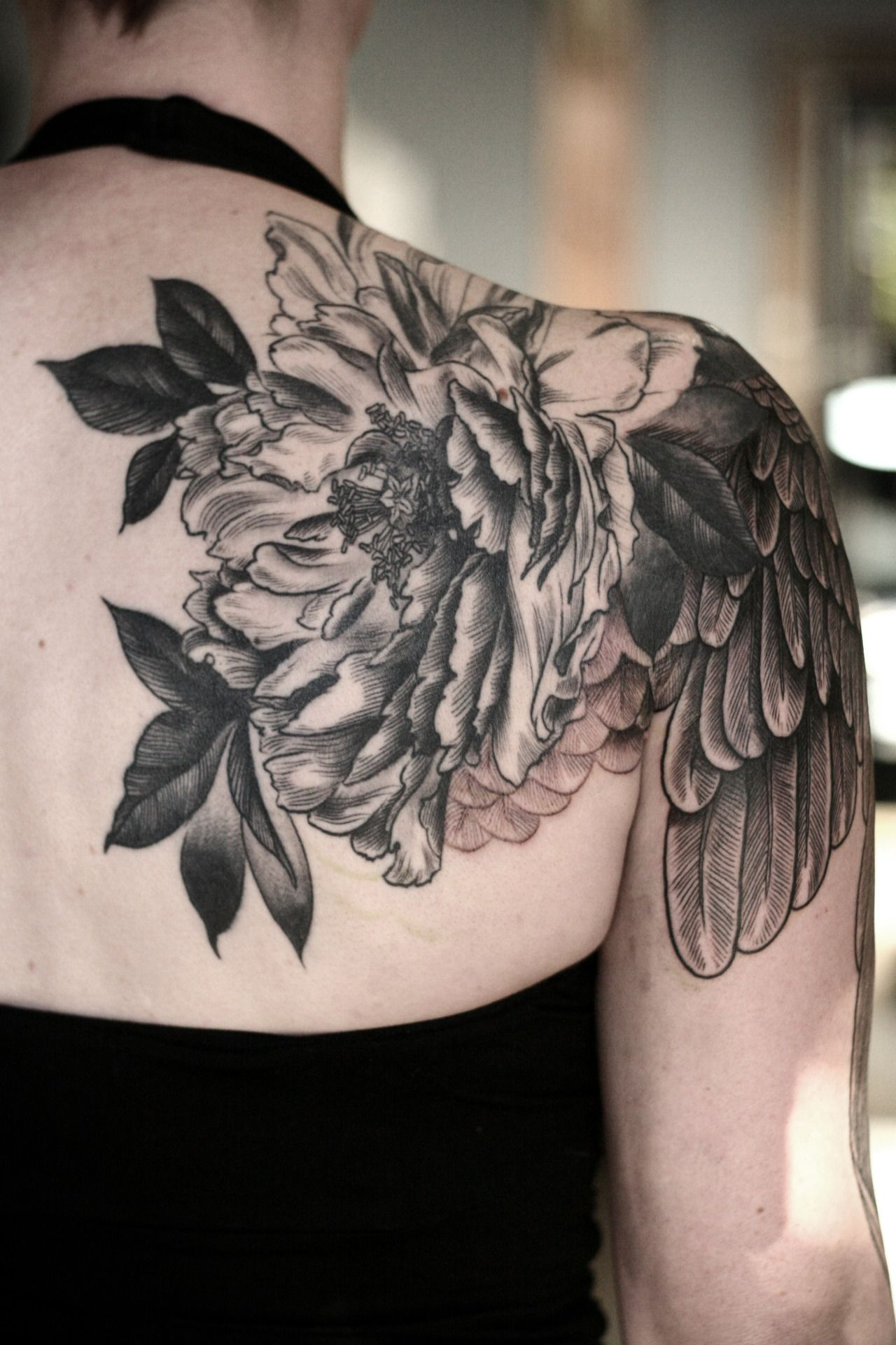 Blackwork peony and wing by sean wright tattoos pinterest