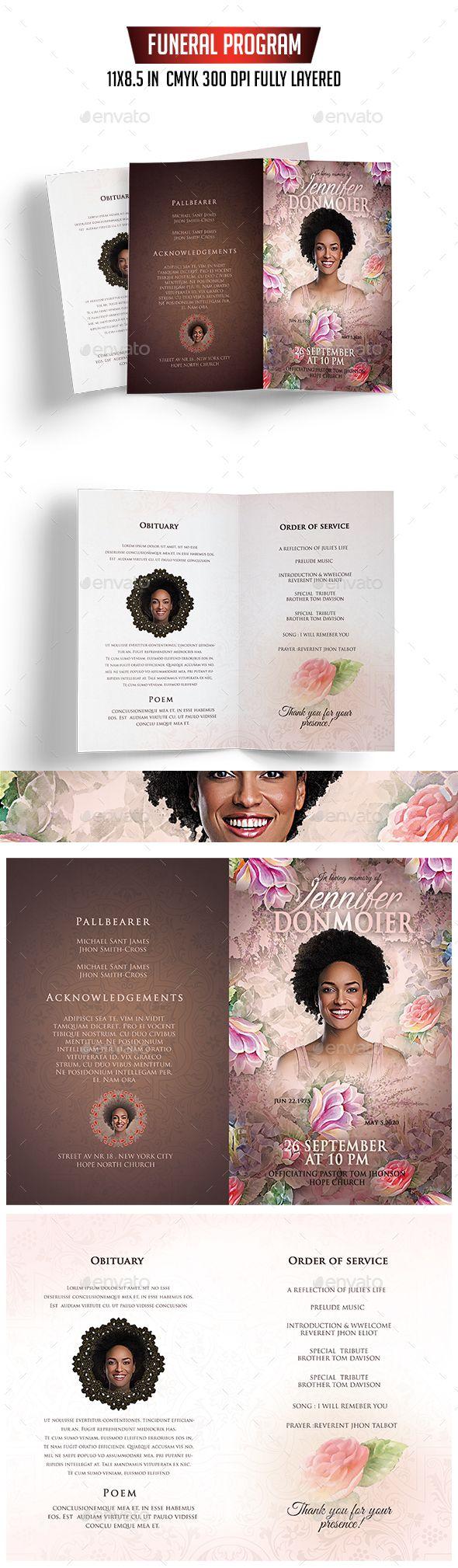 funeral program template informational brochures design