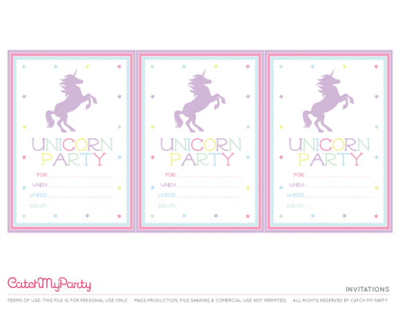 Free Unicorn Printables Invitations CatchMyParty – Unicorn Birthday Party Invitations