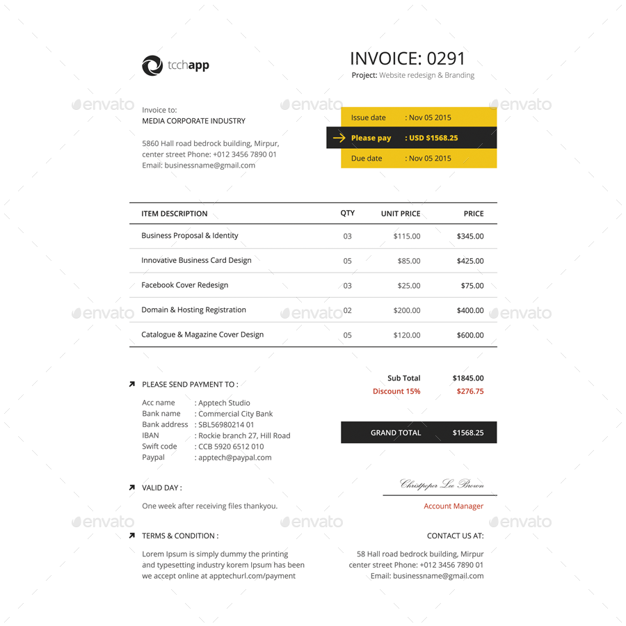 Clean Invoice Template Vol  Invoice    Template