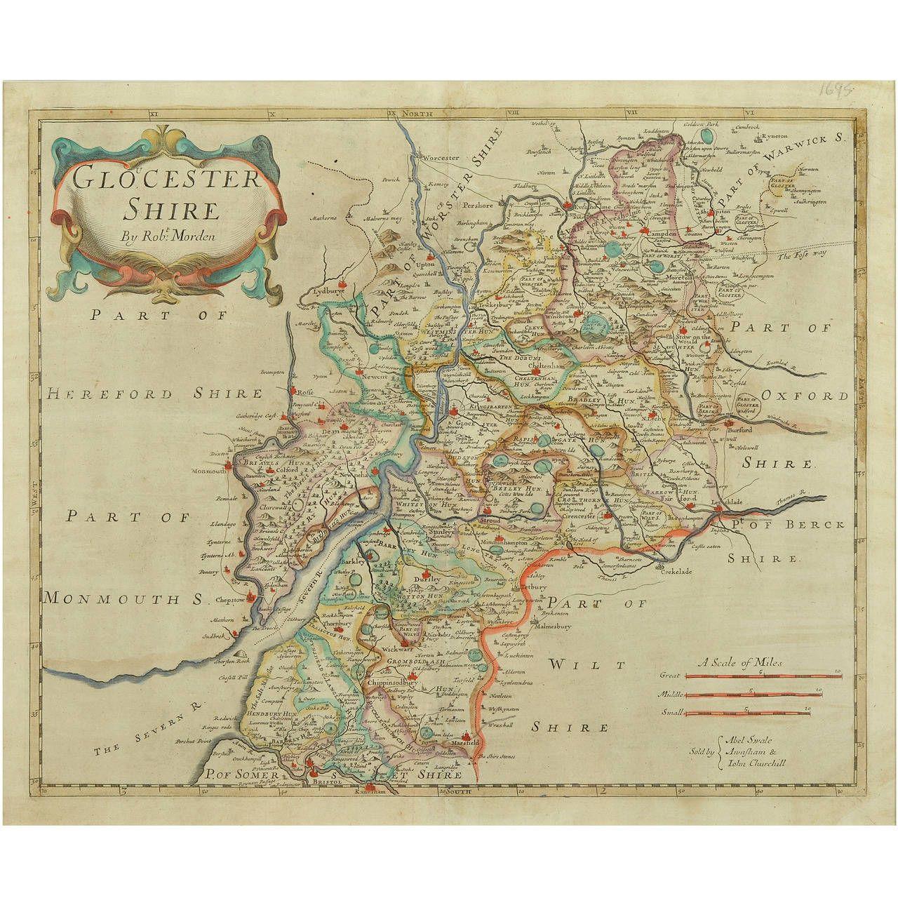 Robert Morden 17th Century Gloucestershire Map 1stdibs Com Vintage Painting Paint Shops Map