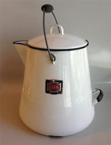 Vintage Lisk Porcelain Enamel Ware Large Kettle Cowboy Coffee Pot