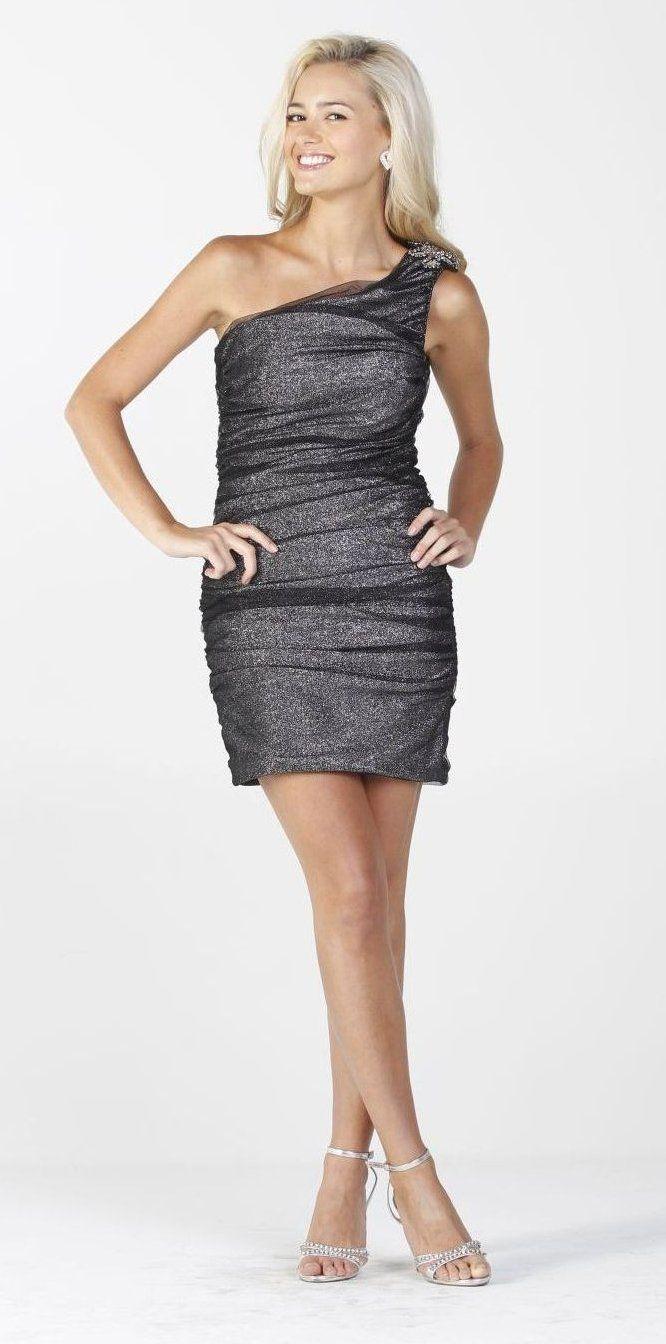 eeb0fbe0e826 Knit With Mesh Off Shoulder Side Zipper Silver Formal Short Dress Cute   87.99