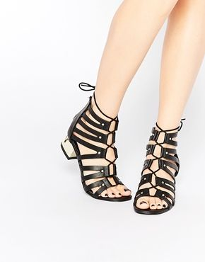 9a4d231c867a New Look Wide Fit Strappy Tie Up Sandal With Gold Heel