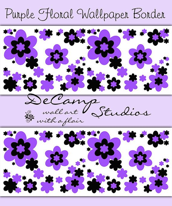 Purple floral wallpaper border wall art decals for baby girl nursery ...