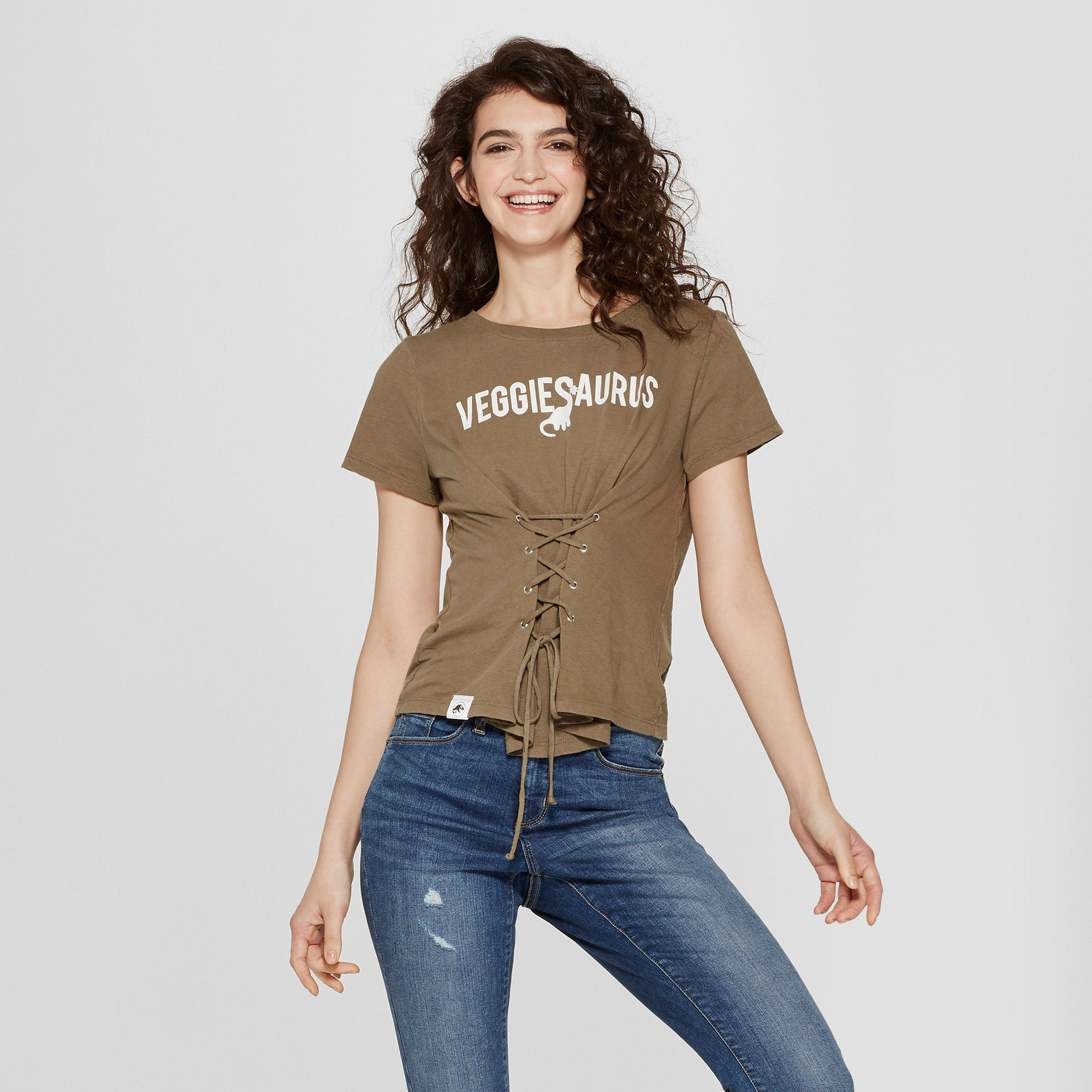 Women s Jurassic Park Vegansaurus Short Sleeve Tie Font Lace-Up Graphic  T-Shirt (Juniors ) Olive Green M a056447ba