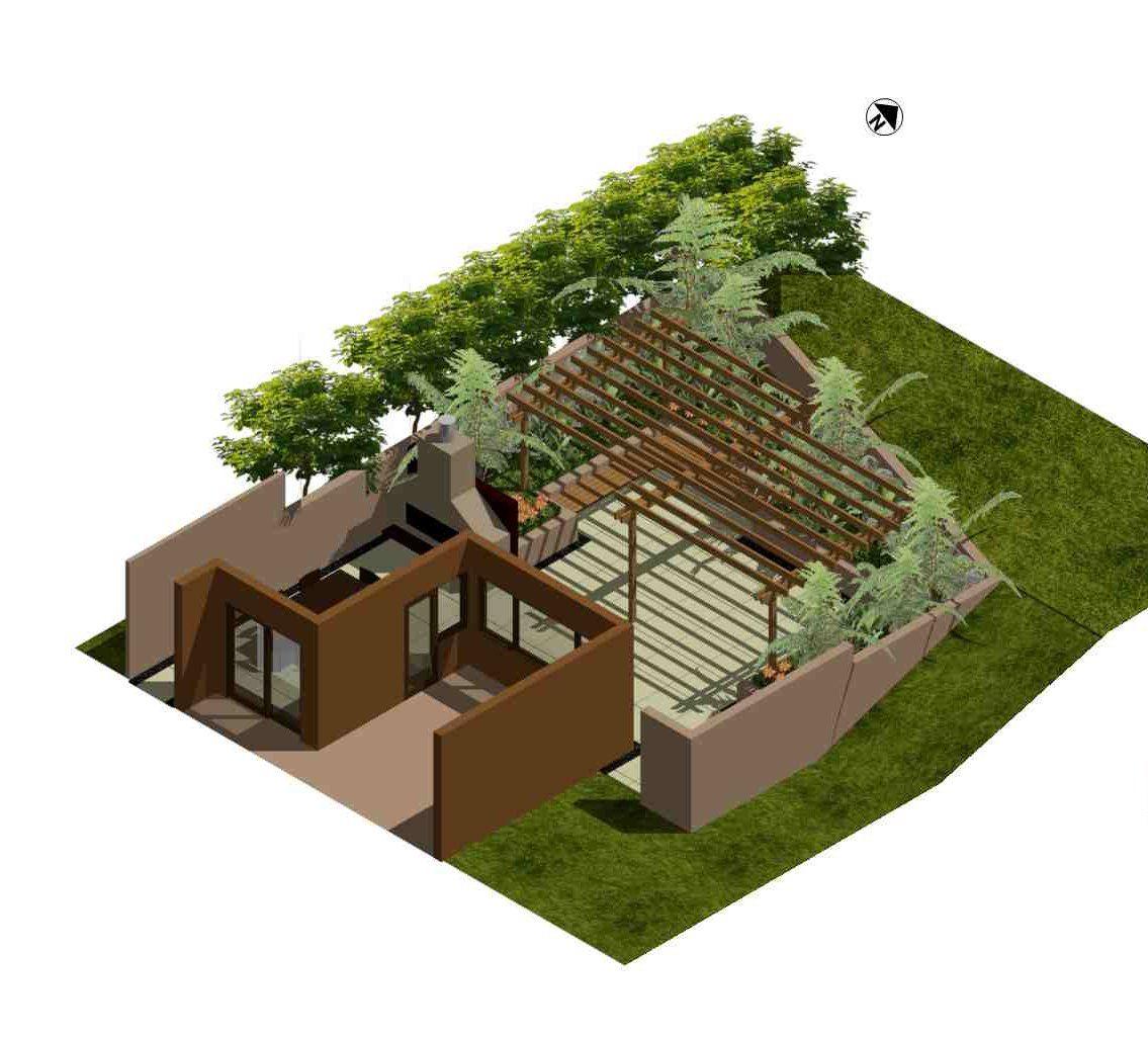 Home Design 3d Outdoor And Garden Apk: 3D Concept Plan Of A Sunken, Walled Courtyard. Designed By